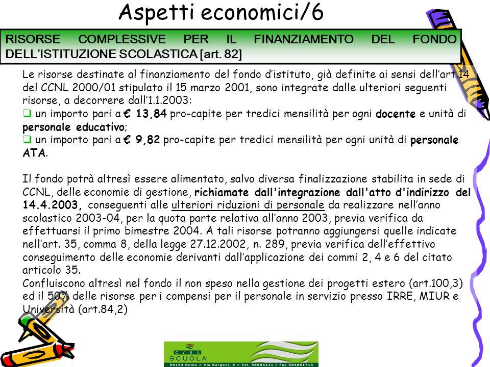Aspetti economici/6 RISORSE COMPLESSIVE PER IL FINANZIAMENTO DEL FONDO DELL'ISTITUZIONE SCOLASTICA [art. 82]
